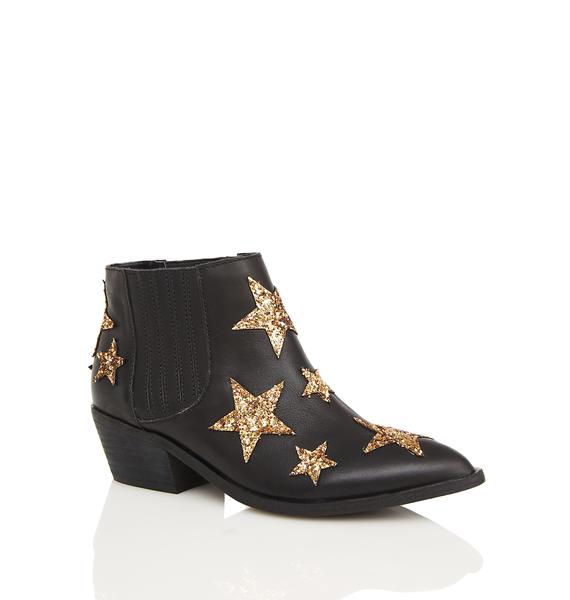 Chinese Laundry Black Leather Star Ankle Boots