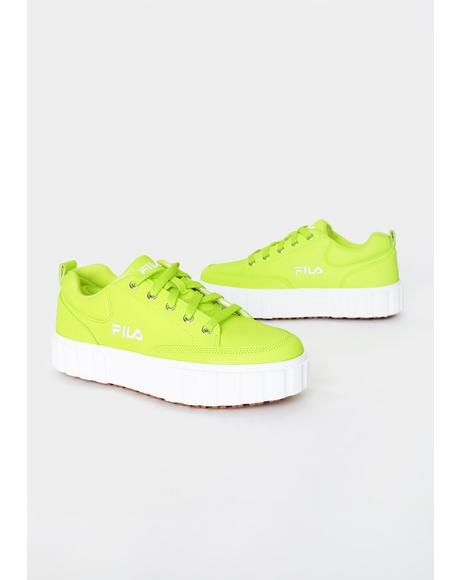 Neon Yellow Sandblast Low Sneakers