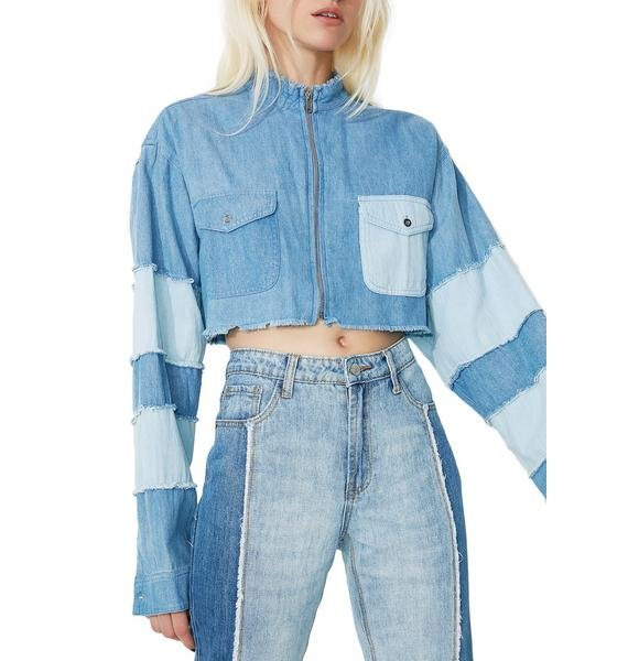 Bite The Bullet Cropped Denim Jacket
