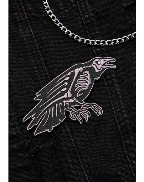 Skelli Bones Raven Patch