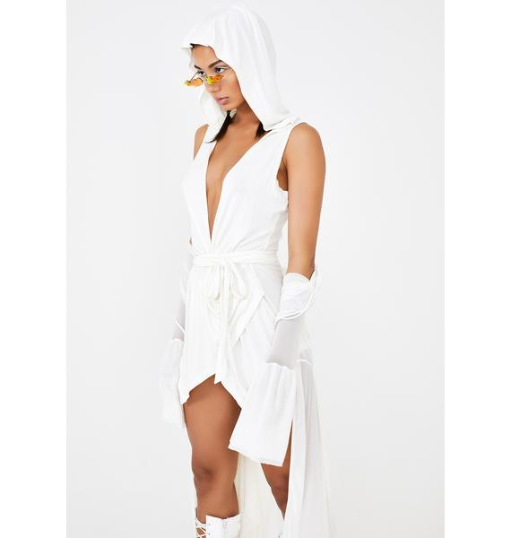 Club Exx False Prophet Hooded Wrap Dress