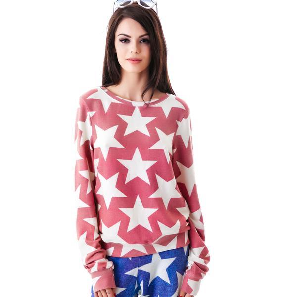 Wildfox Couture Denim Stars Baggy Beach Jumper