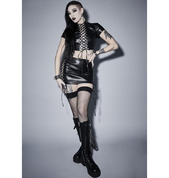 Widow Root Of Evil Lace Up Skirt