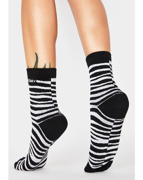 Twinning Zebra Crew Socks 2 Pack