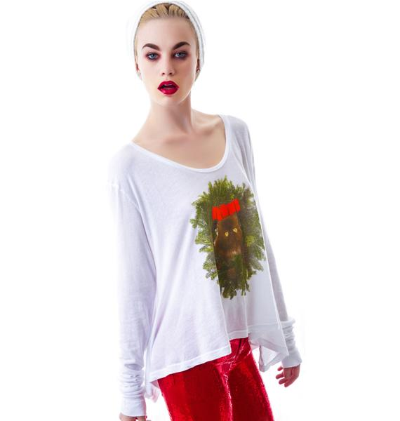 Wildfox Couture Kitty Wreath Lazy Weekend Long Sleeve Tee
