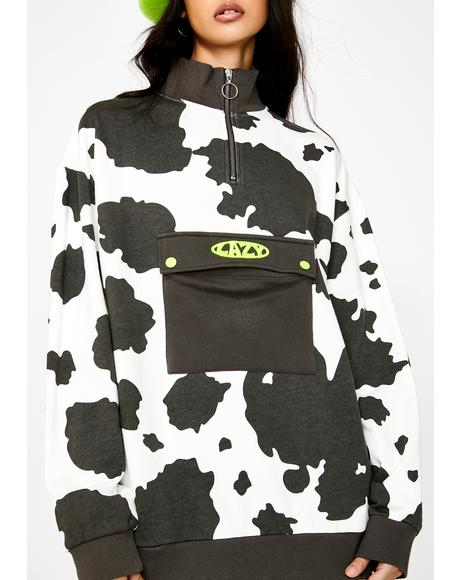 Lazy Cow Half Zip Pullover Sweatshirt