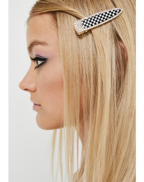 Brutal Diva Checkered Hair Clip