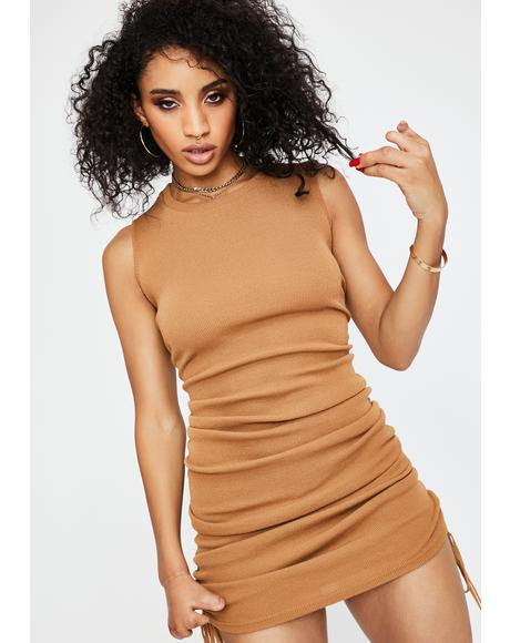 Camel Military Minds Mini Dress