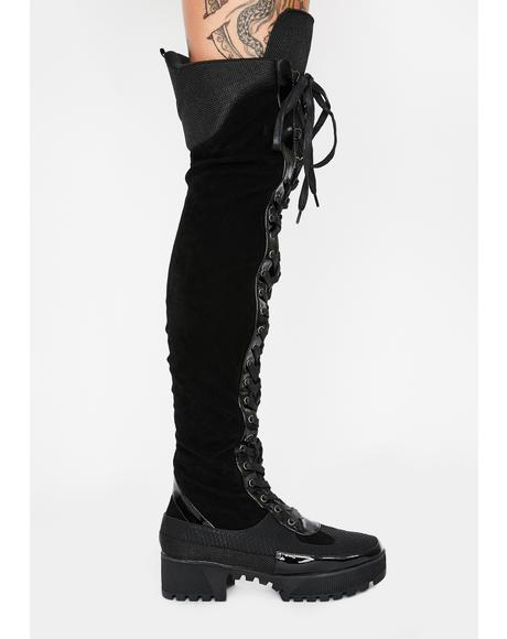 Night Causin' Mischief Combat Boots
