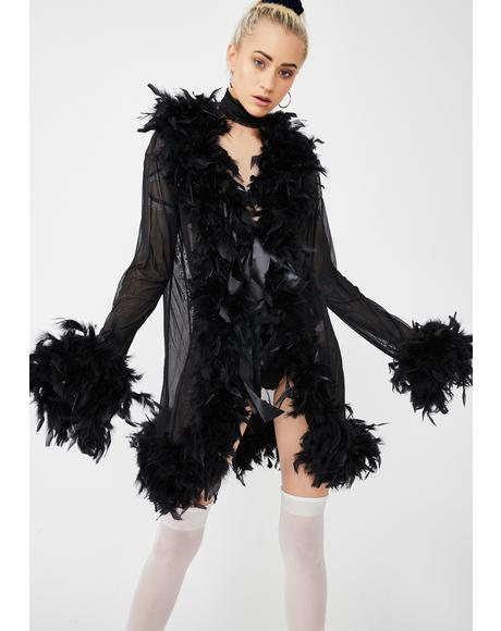 Dark No Presha Feather Robe