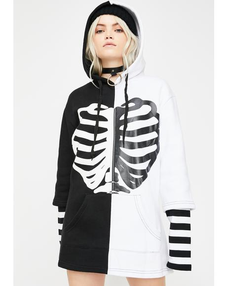 Oversized Skeleton Rib Two-Tone Hoodie