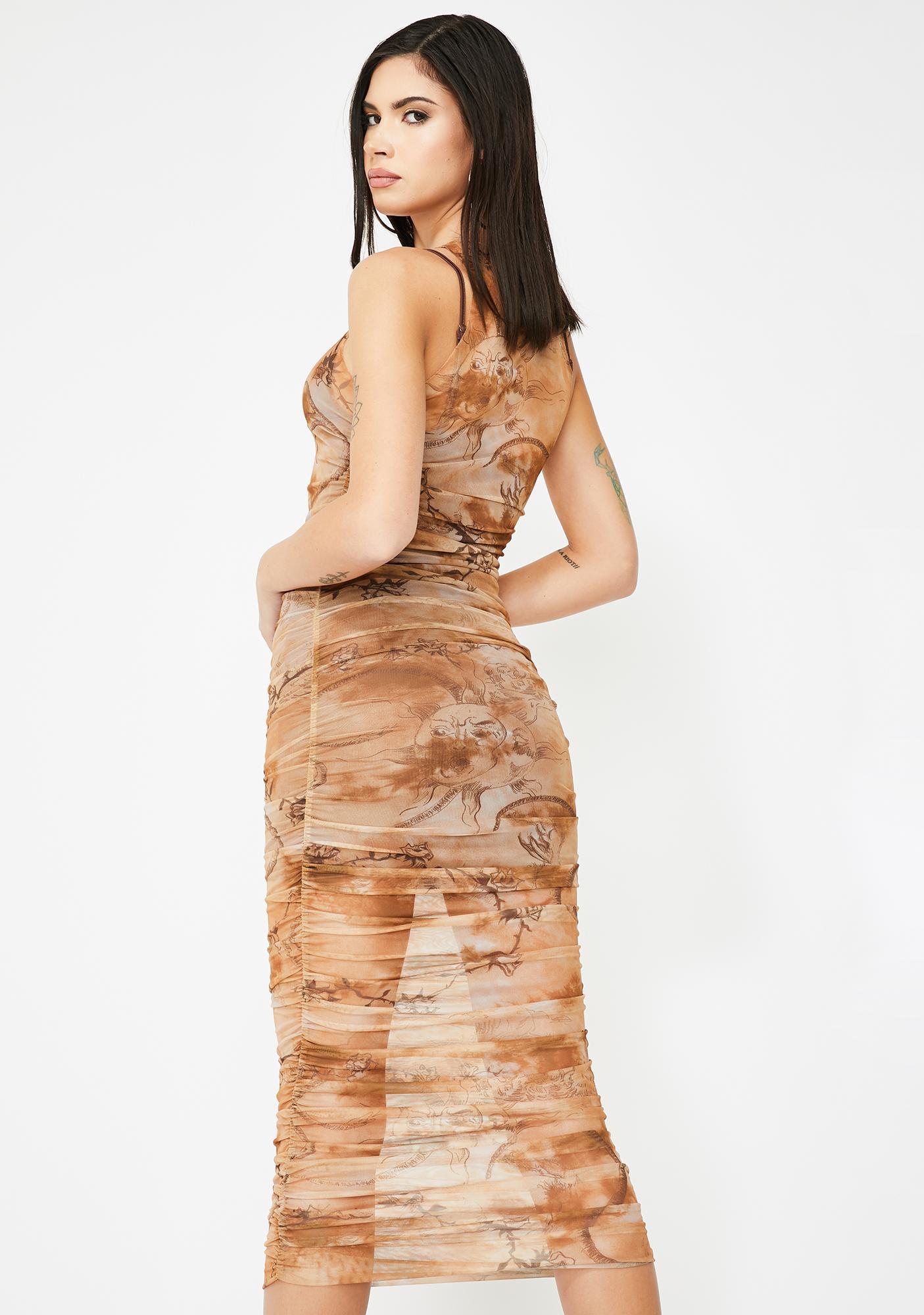I AM GIA Crescent Mesh Print Dress