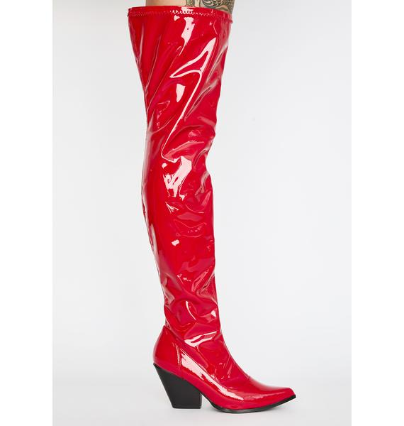 Hot Dominatrix Babe Thigh High Boot