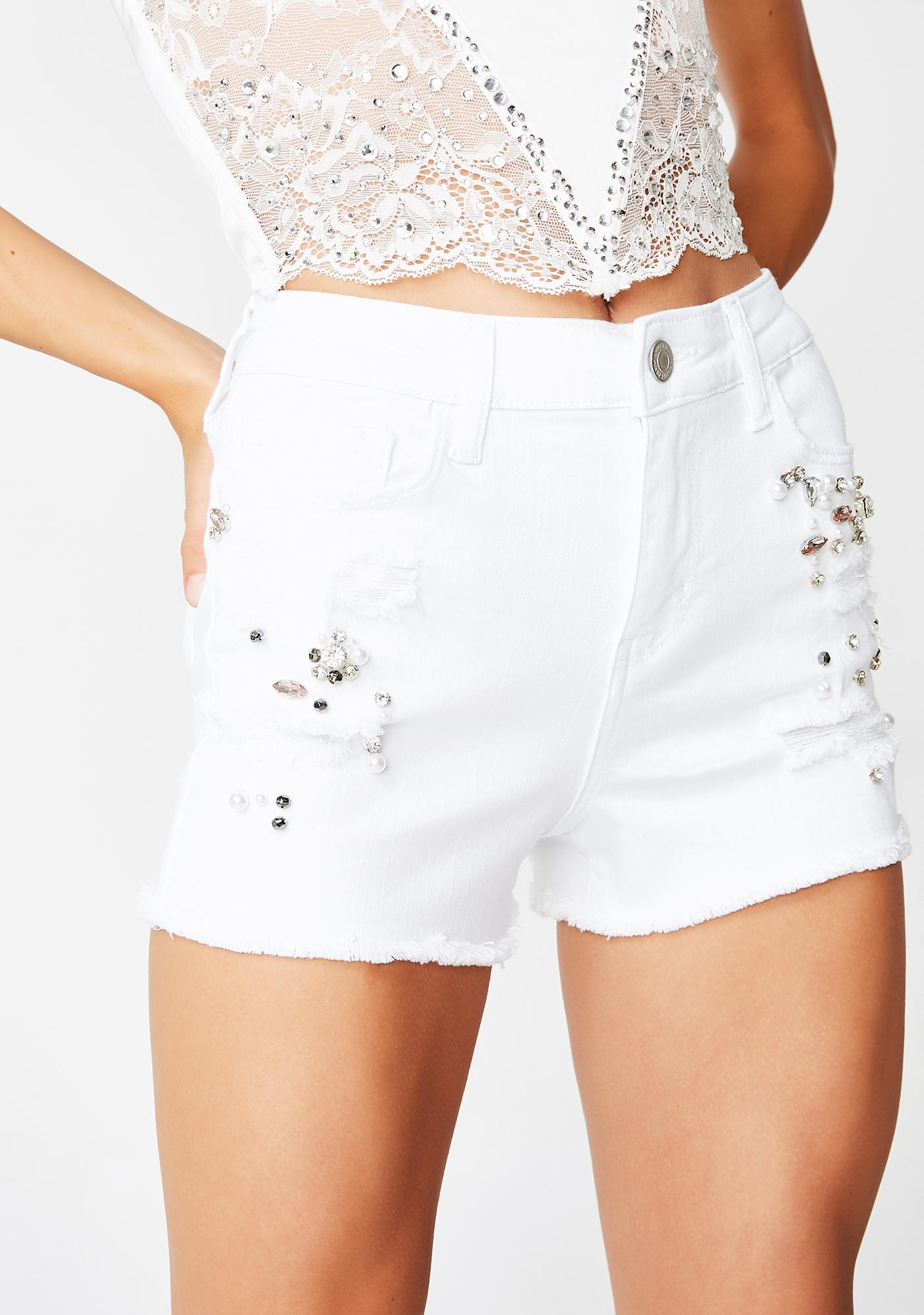 JUICY COUTURE Bejeweled High Rise Shorts