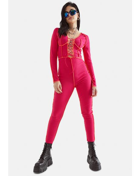 Freak Element Lace-Up Jumpsuit