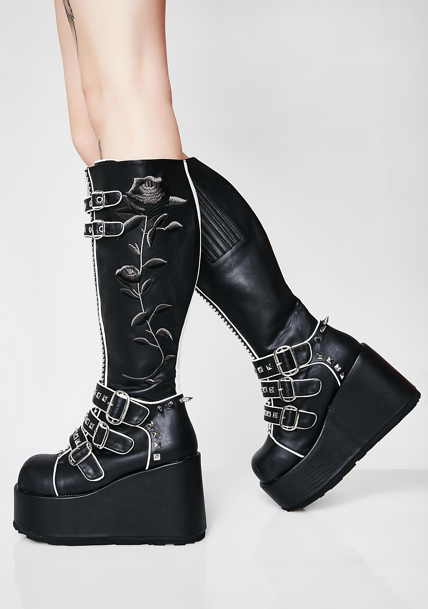 Demonia Slaytanic Platform Rose Boots