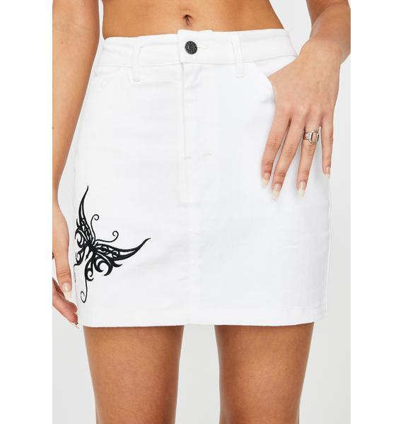 Motel White Butterfly Mini Broomy Skirt