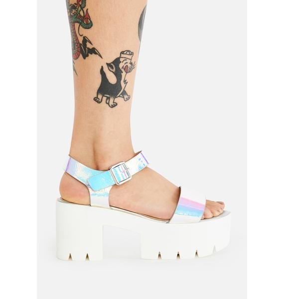 AZALEA WANG Hologram Gifu Platform Sandals