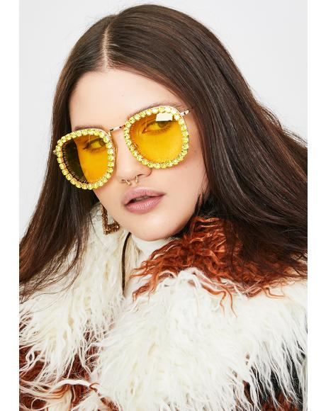 Electric Glamour Patrol Rhinestone Sunglasses