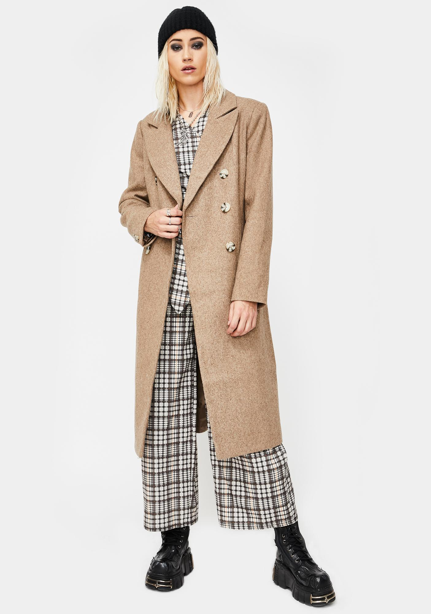 Glamorous Double Breasted Long Wool Peacoat