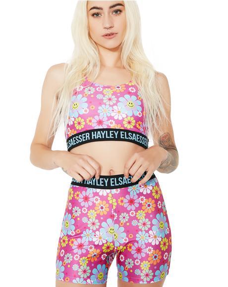 Flower Smiley Biker Shorts