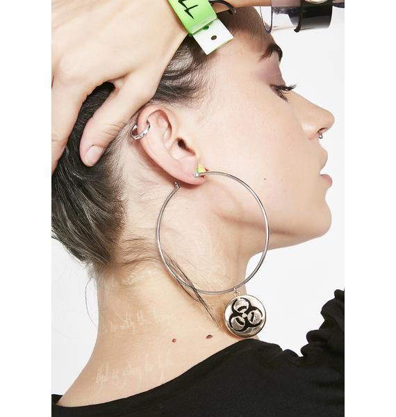 Gilded Danger Biohazard Earrings