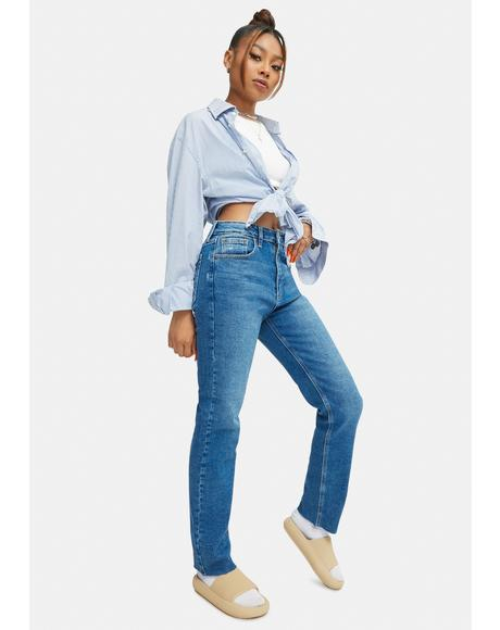 Cropped Straight Leg Medium Denim Jeans