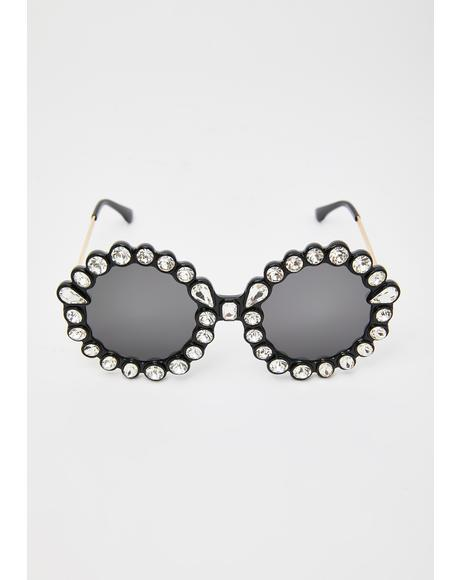 Blackout Spinning Round Rhinestone Sunglasses