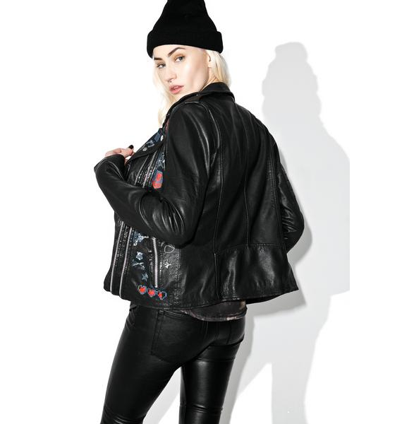 Goosecraft Perfecto Patched Leather Biker Jacket