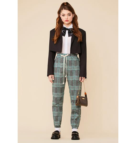 Sage Poetry Reading Plaid Jogger Pants