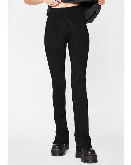 Dark Trouble Ribbed Leggings