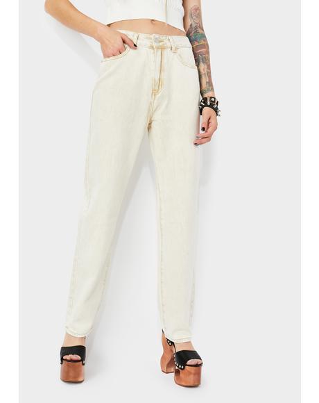 Khaki Grey Wide Leg Jeans
