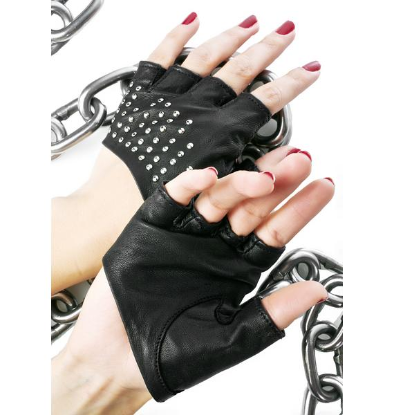 Majesty Black Studded Half Gloves