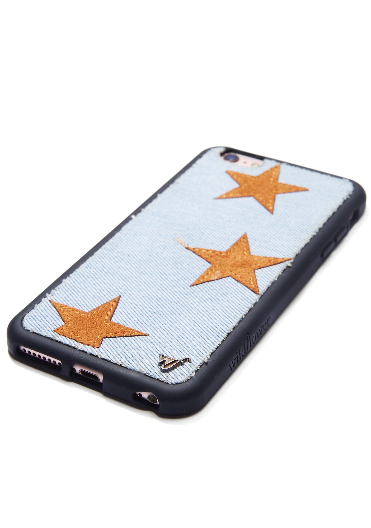 Wildflower Tan Star Denim iPhone Case