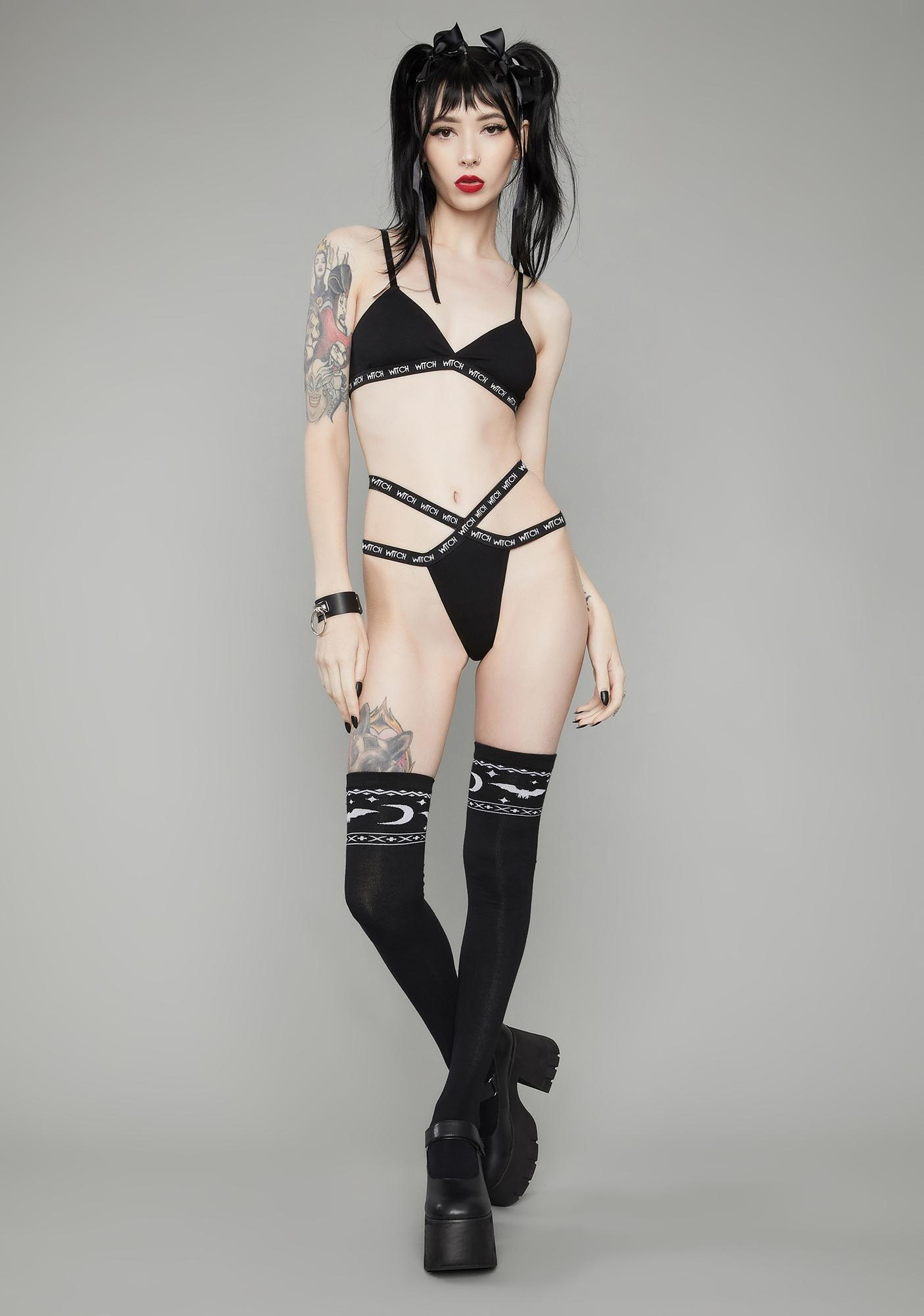 Dolls Kill Bad Witches Only Lingerie Set