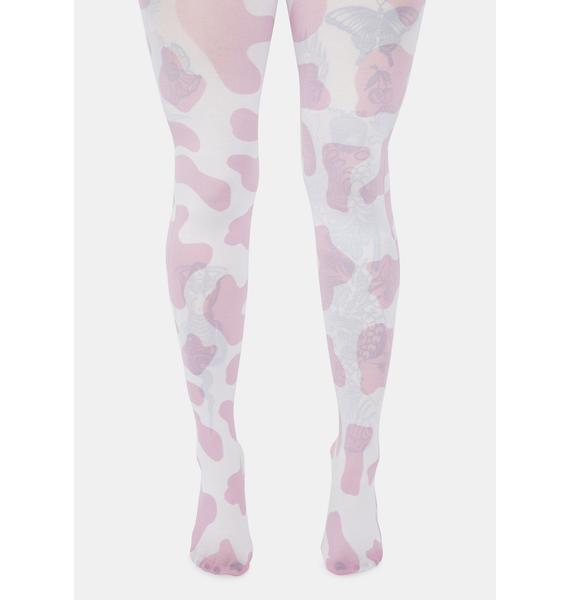 Strawberry Milk Cow Print Tights
