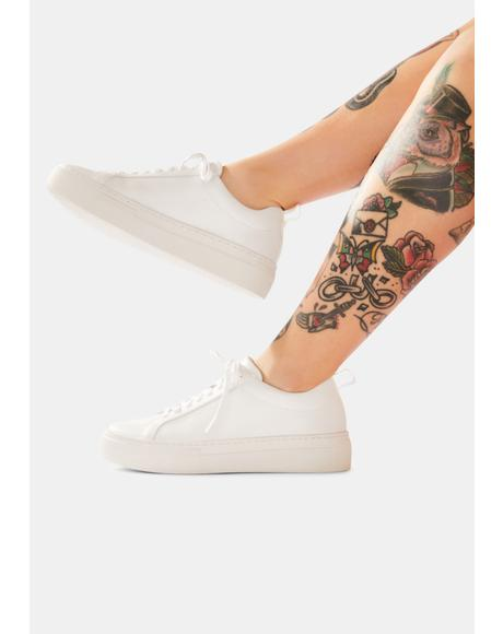 White Zoe Leather Platform Sneakers