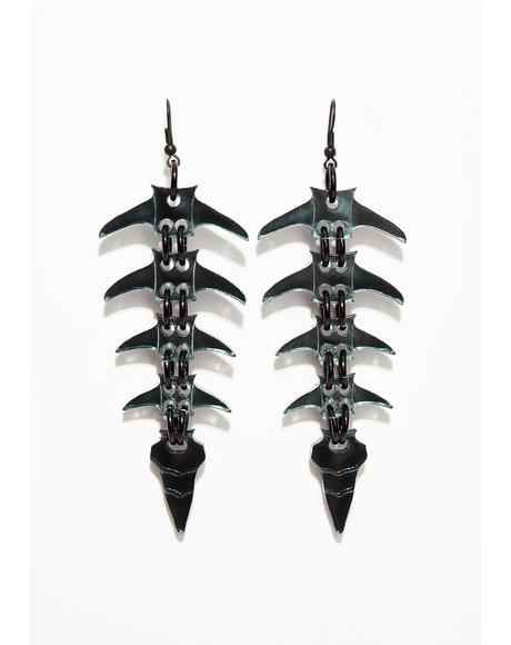 Black Mirror Spine Earrings Bone Skeleton