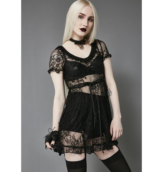 Widow Shadow Kiss Lace Babydoll Dress