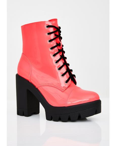 Coral Lucky Winner Platform Boots