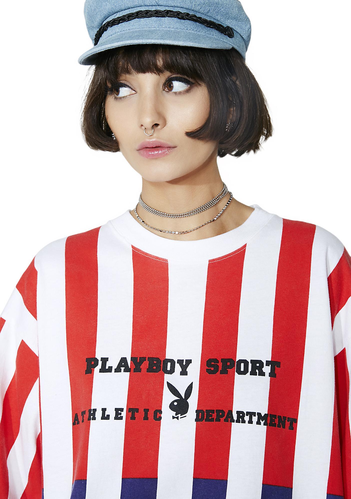 Vintage Playboy Athletic Striped Tee