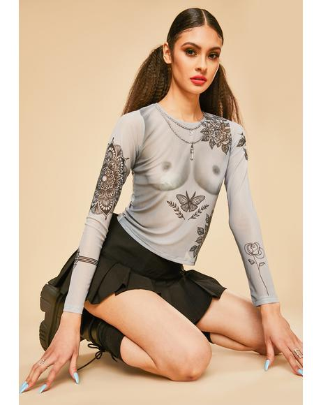 Bare Is Beautiful Tattoo Mesh Top