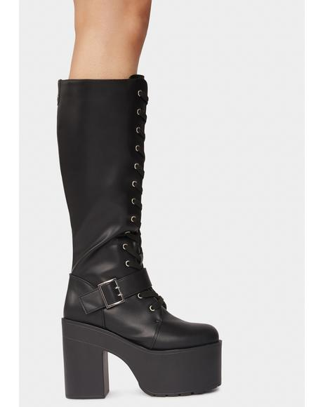 Night Go And Conquer Knee High Platform Boots