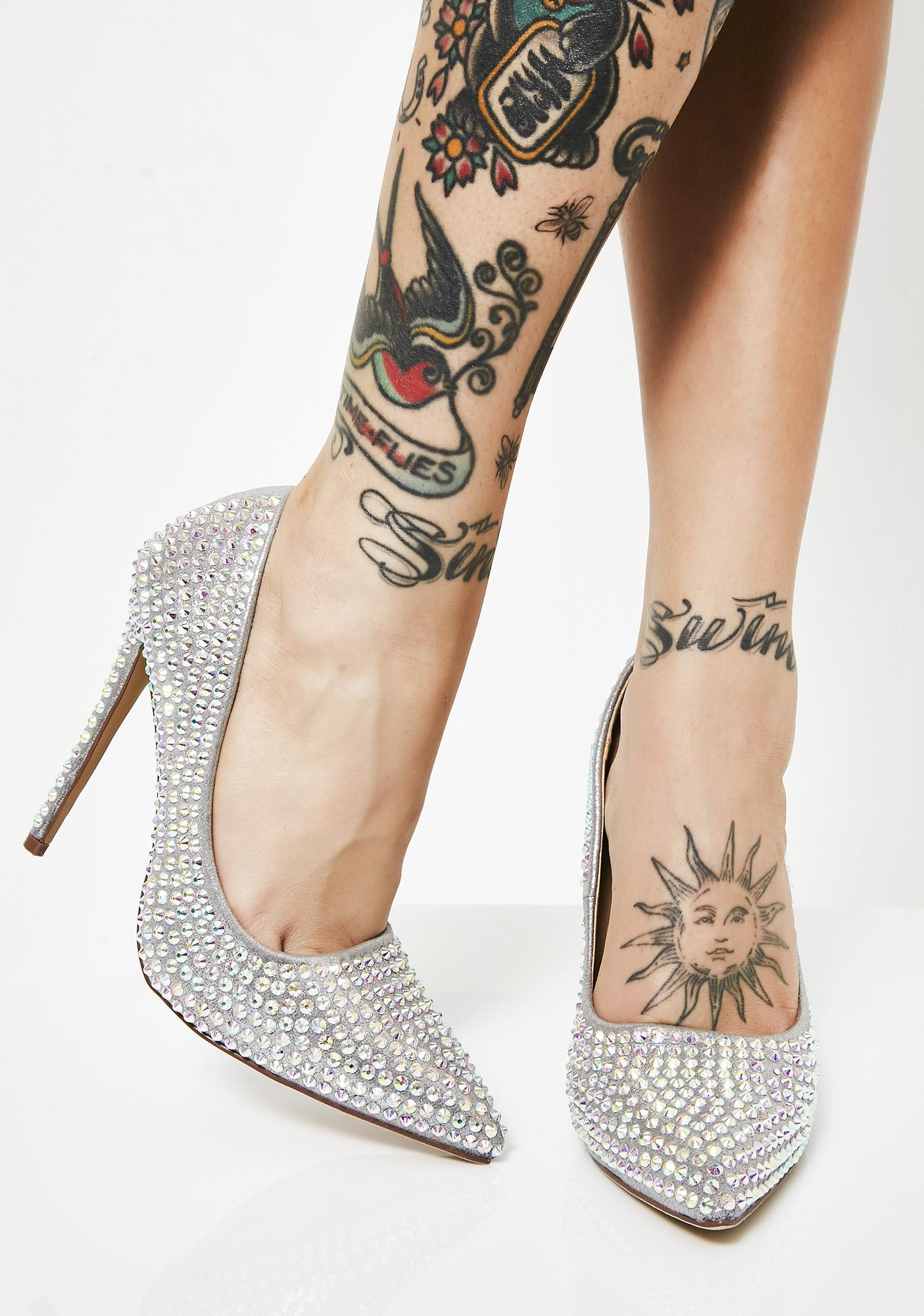 Platinum Supreme Bling Queen Heels by Liliana