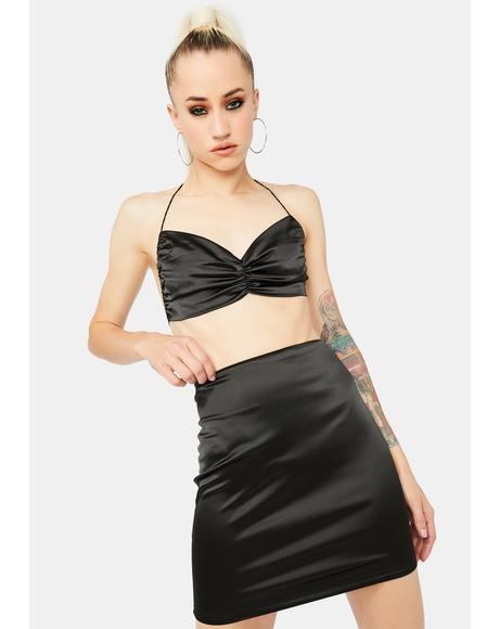 Star Behavior Satin Skirt Set