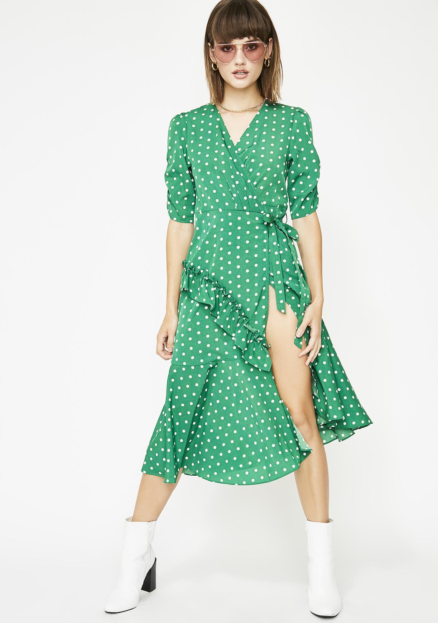 0f2212f68116 Polka Dot Wrap Midi Dress | Dolls Kill