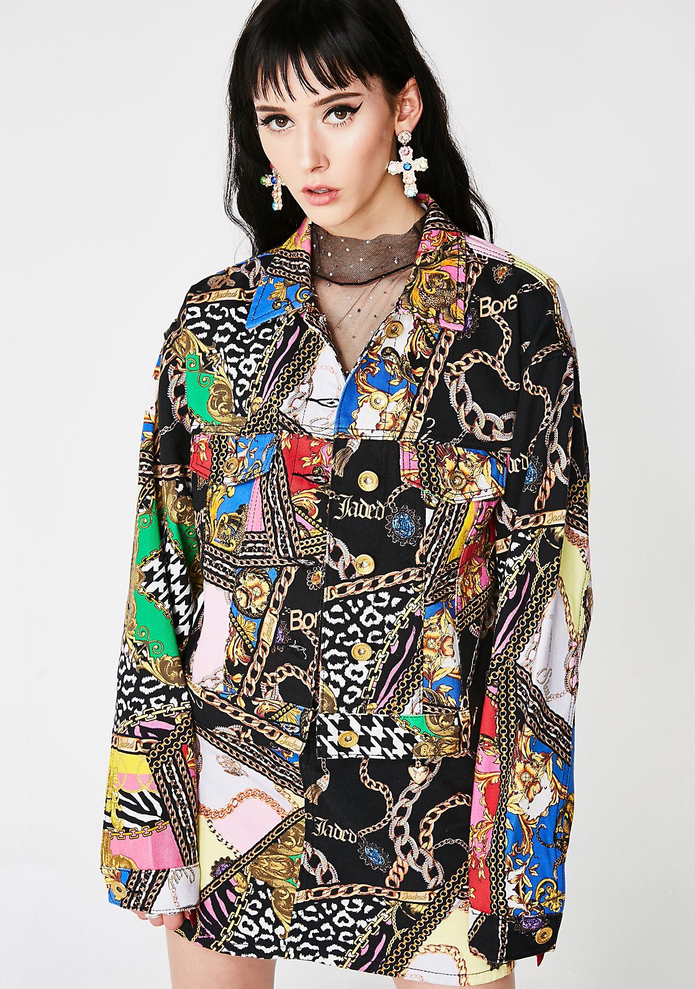Jaded London Mixed Scarf Print Cropped Denim Jacket