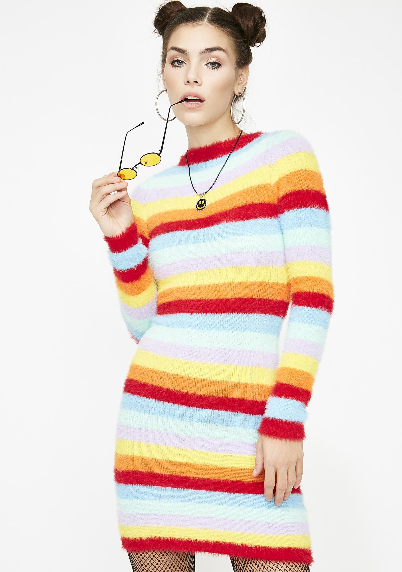 b54ad25322c1 Rainbow Fuzzy Mini Dress | Dolls Kill