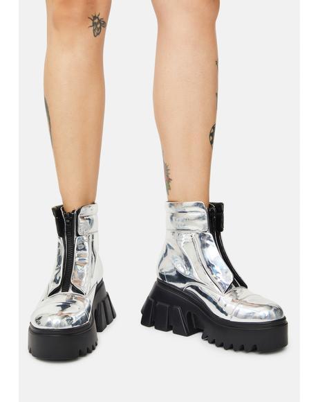 Total Eclipse Metallic Combat Boots