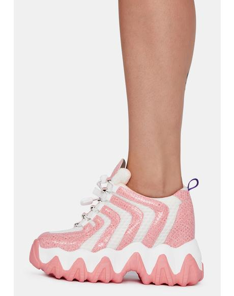 Baby Pink Chevron Blackberry Platform Sneakers